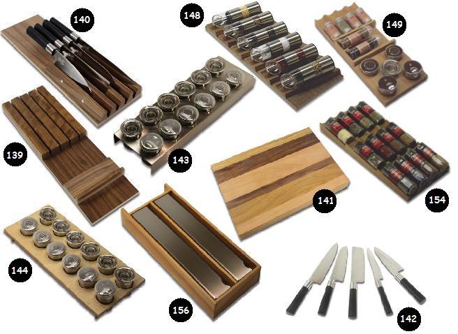 Keukenlade Accessoires : Houten bestekbak, bestekbakken en of houten