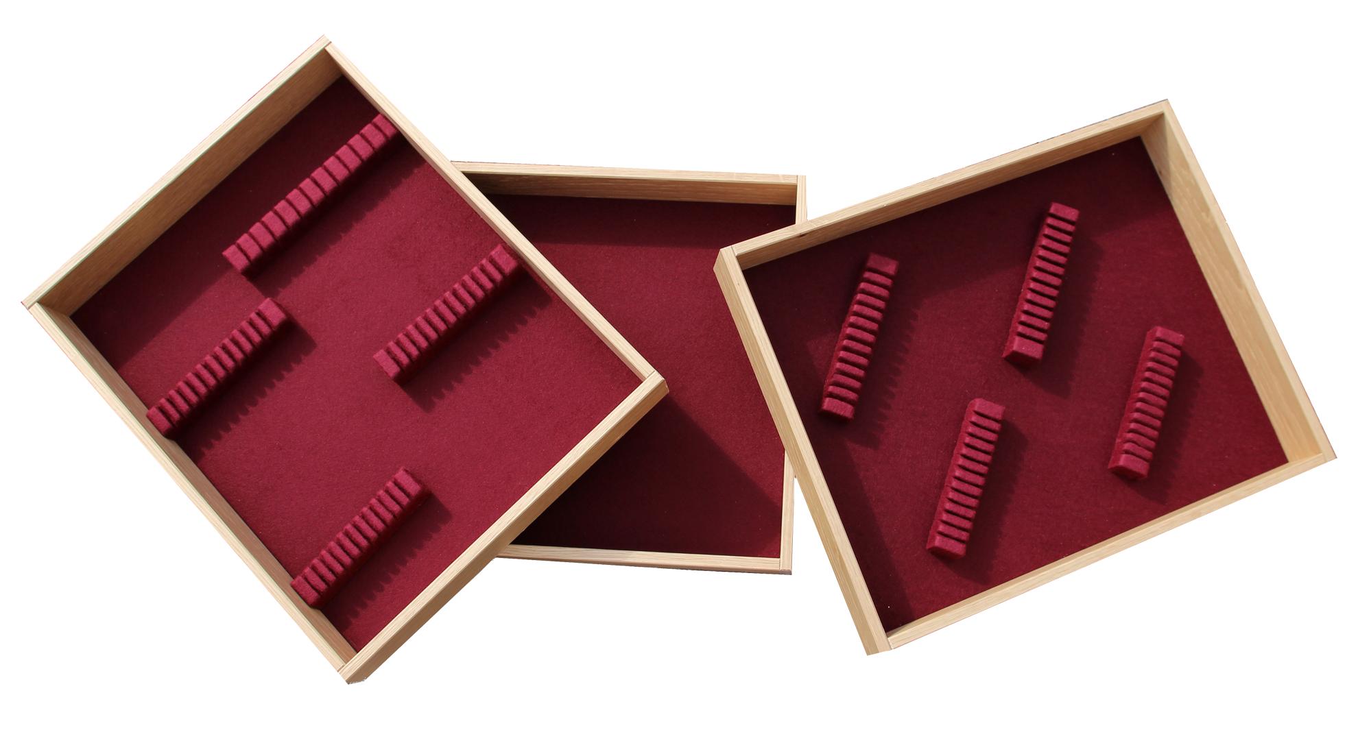 houten bestekbak met vilt bodem eiken rood 400x320x54 bestekhouders.